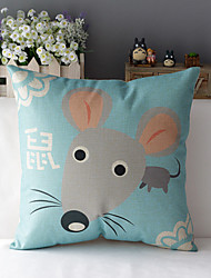 "43cm*43cm 17""*17"" Chinese Zodiac Mouse Cotton / Linen Cotton&linen Pillow Cover / Throw Pillow With No Insert"