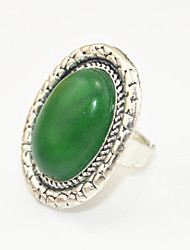 Vintage Look Antique Silver Oval Natural Green Aventurine  Stone Adjustable Free Size Ring(1PC)