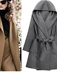 YiFuDi Women's Solid Color Black / Brown / Gray Coats & Jackets , Casual / Work Cape / Hoodie Long Sleeve