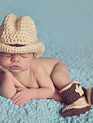 Baby Boys Handmade Knitted Crochet Photography Props Newborn Photo Khaki Cowboy Hat and Boots set