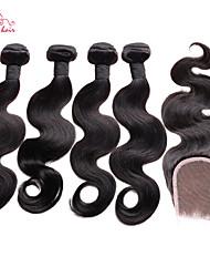 """smilco 12 """"-34"""" 4 пучки с закрытием 100% человеческий волос бразильский волны тела с закрытием пучков волосков с кружевными закрытия"""