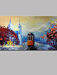 Hand-painted Modern Electric Bus Landscape Street Oil Paintings On Canvas With Frame Ready to Hang