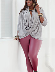 Women's Solid Gray Blouse , Asymmetrical Long Sleeve
