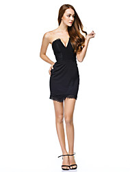 Cocktail Party / Company Party Dress Sheath / Column Strapless Short / Mini Jersey with Lace