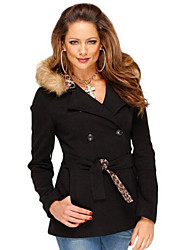 Women's Coat,Solid Hooded Long Sleeve Winter Black Cotton Medium