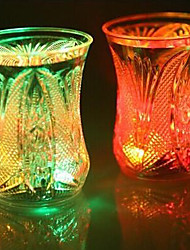 7.1*9.5CM Christmas Colorful Flash Light Glass Plastic Induction Cup Water To Shine Light LED Lamp 1pc