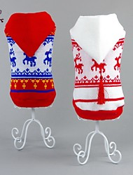 Chat Chien Pull Pulls à capuche Rouge Blanc Vêtements pour Chien Hiver Renne Noël Nouvel An