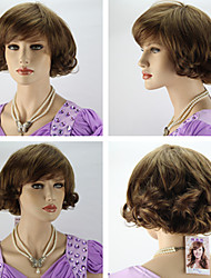 Women's Fashionable Dark Brown Wavy Short Hair Wigs with Side Bang