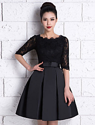 Knee-length Lace / Satin Bridesmaid Dress - Black A-line Scoop