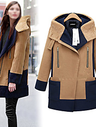 Weiwei Women's Patchwork Brown Coats & Jackets , Vintage / Casual / Work High-Neck Long Sleeve