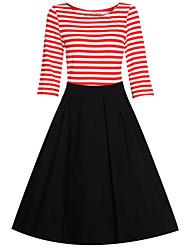 Women's Retro Beam Waist Stripe Half Sleeve Swing Dress
