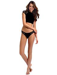 Damen Bikinis  -  Einfarbig Push-Up Polyester Halfter
