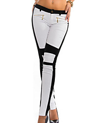 Women's Europe Popular Color Block Skinny Pants with Zipper, Bodycon / Casual