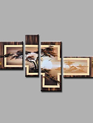 Ready to Hang Stretched Hand-Painted Oil Painting Canvas Wall Art Trees Forest Sunrise Modern Four Panels
