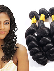 ANNA Brazilian Loose Wave Hair Extensions 3pcs Loose Wave Virgin Hair Wefts #1B Loose Wave Hair Weaves 100g/pcs