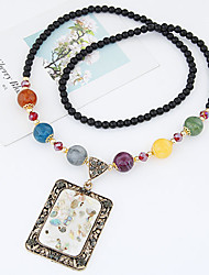 Fashion Color Shell Square Pendant Bead Necklace