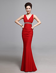 Formal Evening Dress Trumpet / Mermaid V-neck Floor-length Jersey with Beading / Side Draping