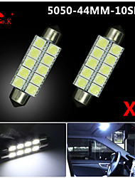 2 X  White 44MM 5050 10SMD Festoon Dome Map Interior LED Light bulbs DE3423 6418 12V