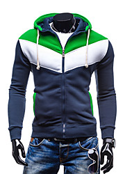 Men's Plus Size Casual/Daily Simple Hoodie Jacket Color Block Cotton Polyester Long Sleeve Fall
