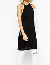 Women's Sexy / Casual Solid Shift Dress , Halter Knee-length Cotton