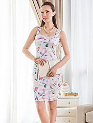 Women's Holiday / Beach Floral Bodycon Dress , Strap Above Knee Polyester