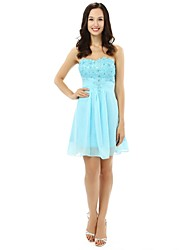 Knee-length Chiffon Bridesmaid Dress - A-line Strapless with Appliques / Beading / Crystal Detailing