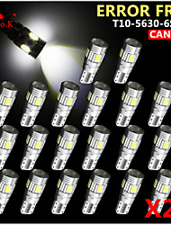 20x canbus coin t10 blanc 192 168 194 W5W 6 5630 SMD LED Lampe erreur ampoule 12v gratuitement