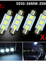 4X White 36mm 3 5050 SMD Festoon Dome Map Interior LED Light Lamp DE3175 3022 12V