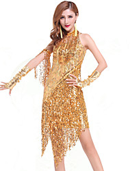 Latin Dance Dresses Women's Performance Chinlon Sequins / Tassel(s) 1 Piece Gold Latin Dance Dress