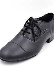 Non Customizable Men's Dance Shoes Latin / Modern / Swing Shoes / Salsa / Patent Leather Cuban Heel Black White