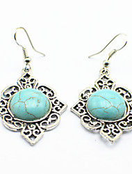 Vintage Look Antique Silver Plated Stone Turquoise Alloy Drop Dangle Earring(1Pair)