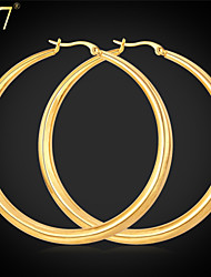 U7® Women's High Quality Stainless Steel Earrings 18K Real Gold Plated Basketball Wives Big Hoop Earrings