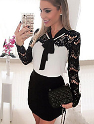 Women's  Lace Splicing Bow Long Sleeve Color Block Slim Dress