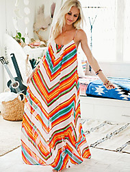 KOOCON  Women's Color Block Multi-color Dresses , Sexy / Beach / Casual Straps Sleeveless
