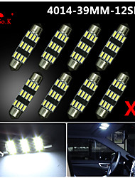 8X NEW White 39mm 12 4014 SMD Festoon Dome Map Interior LED Light Lamp DE3175 3022 12V