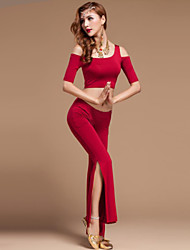 Vatsatanssi Asusteet Naisten Suoritus Puuvilla / Polyesteri / Modaali Laskostettu 2 osainen Fuksia / Vaalea purppura / Oranssi / Burgundy