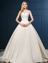 Ball Gown Wedding Dress - Champagne Chapel Train Scoop Lace / Satin