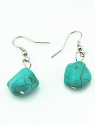 Vintage Look Irregular Turquoise Stone Beads Drop Dangle Earring(1Pair)