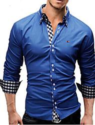 Men's Long Sleeve Shirt , 100% Cotton Double Neck Casual / Work / Formal Print / Plaids & Checks / Pure Shirt