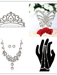 Wedding Suit(Headdress & Necklace & Earrings& Bracelet & Cake Topper)