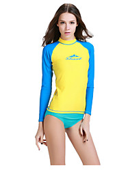Women Scuba Snorkeling Long Sleeve Sunscreen Beach Surfing Rash Guard Swimwear Shirts (Only Tops)
