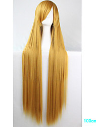 Anime Cosplay Wig Golden Yellow 100 CM Long Straight Hair High Temperature Wire