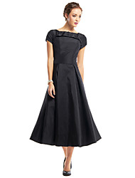 TS Couture® Cocktail Party Dress - Black A-line Scoop Tea-length Taffeta