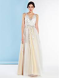 lanting mariée une ligne robe-parole longueur v-cou de mariée en tulle