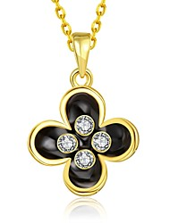 Fashion Diamante Flower Multicolor Gold-Plated Pendant Necklace(Golden,Rose Gold,White)(1PC)