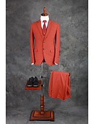 Suits Tailored Fit Notch Single Breasted Two-buttons Cotton Blend Solid 3 Pieces Orange