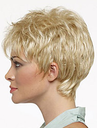 Woman's Light Gold Straight Short Synthetic Wigs