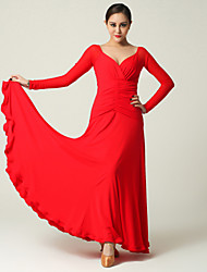Imported Nylon Viscose and Tulle with Draped Ballroom Dance Dresses for Women's Performance (More Colors)