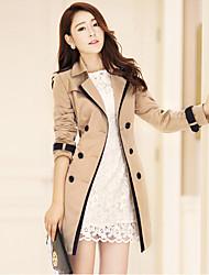 Trench Femme,Couleur Pleine Grandes Tailles Manches Longues Col de Chemise Beige / Noir Coton / Polyester / Nylon Moyen Automne
