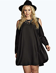 Women's Solid Black Dress , Casual Round Neck